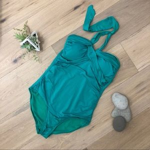 Worn Once green one piece halter swimsuit mallet